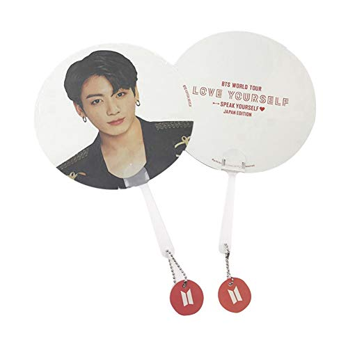 Kunandroc Kpop BTS Bangtan Boys WORLD TOUR LOVE YOURSELF SPEAK YOURSELF Tragbarer Handventilator Doppelseitig Gemusterter PVC Ventilator Sommer 1 STÜCK(JUNG KOOK)