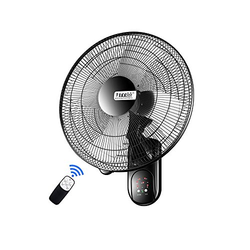 Fan, Industrielle Wandventilator Intelligente Fernbedienung Super Starke Windschaukel Mini Große Kapazität Metallventilator Wand Montiert Lüfter 50cm (Farbe : Black)